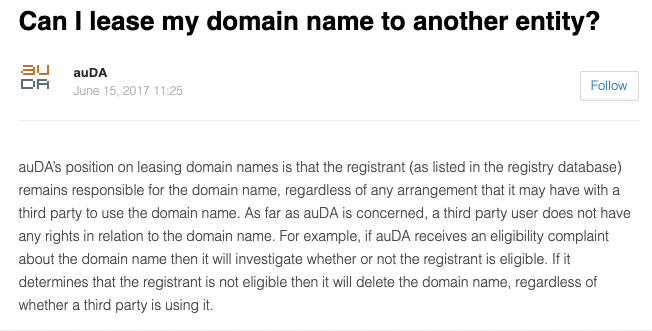 Domain Leasing Policy Australia auda